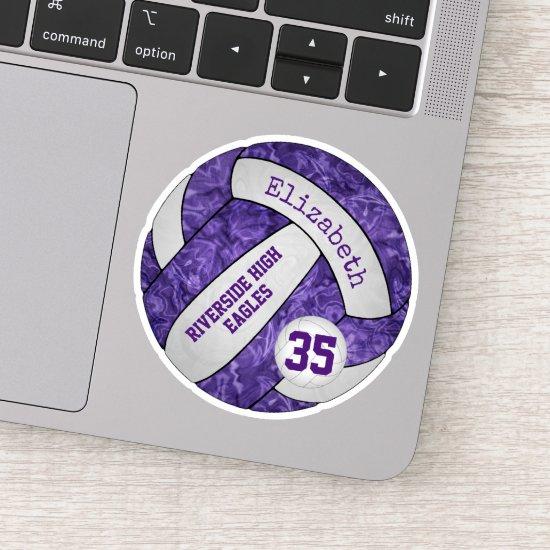 purple girls' volleyball w school mascot name sticker