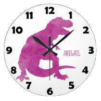 Purple Girls Watercolor Dinosaur Personalized Kids Large Clock