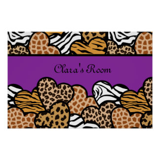 Purple Girly animal print hearts with a name
