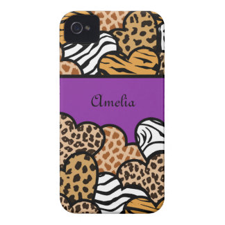 Purple Girly animal print hearts with a name iPhone 4 Cover