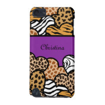 Purple Girly animal print hearts with a name iPod Touch 5G Case