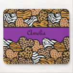 Purple Girly animal print hearts with a name Mouse Pad