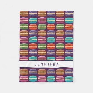 Purple Girly Glitter Macaron Cookies Fleece Blanket