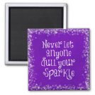 Purple Girly Inspirational Sparkle Quote Magnet