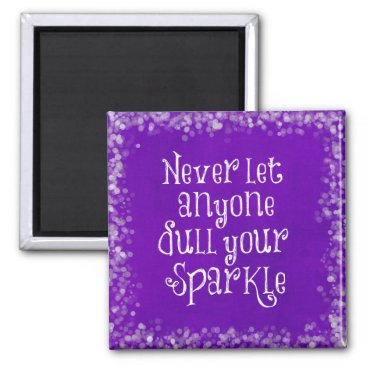 QuoteLife Purple Girly Inspirational Sparkle Quote Magnet