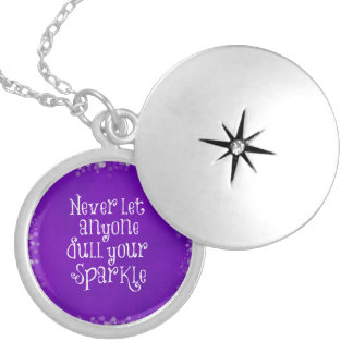 Purple Girly Inspirational Sparkle Quote Silver Plated Necklace