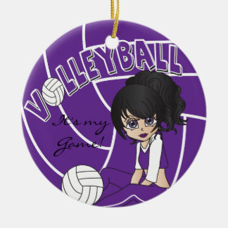 Purple Girly Volleyball Ceramic Ornament