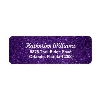 Purple Glam Faux Glitter Label