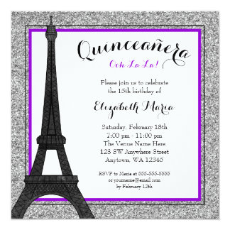 Purple Glam Paris Faux Silver Glitter Quinceanera Card