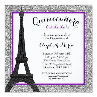 Purple Glam Paris Faux Silver Glitter Quinceanera Card