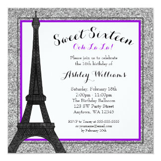 Purple Glam Paris Themed Faux Glitter Sweet 16 Card