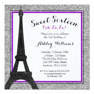 Purple Glam Paris Themed Faux Glitter Sweet 16 5.25x5.25 Square Paper Invitation Card