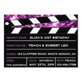 Purple Glamour Clapper Board Her Birthday Invite