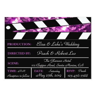 Purple Glamour Clapper Board Wedding Invite