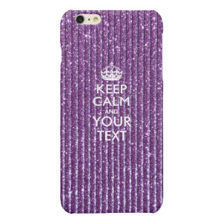 Purple Glamour Keep Calm Have Your Text Glossy iPhone 6 Plus Case