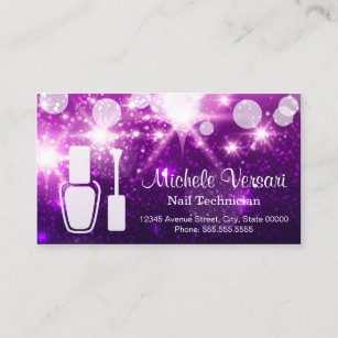 Nail technician business cards templates zazzle purple glamour nail technician appointment card accmission Gallery