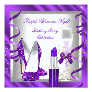 Purple Glamour Night Champagne Party 2 Card