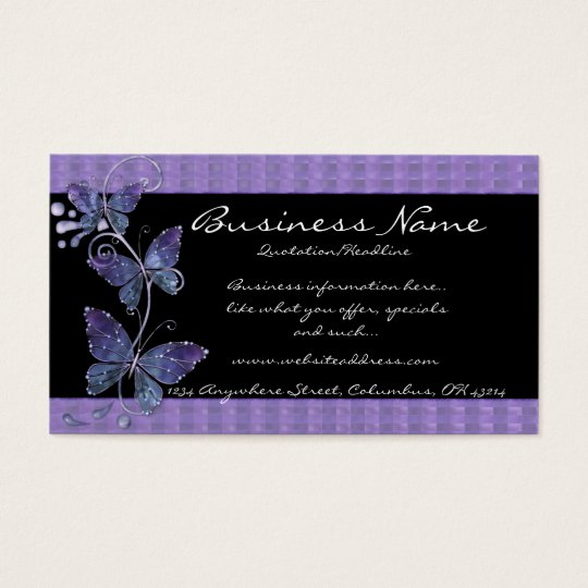 Purple Glass Butterflies Business Cards