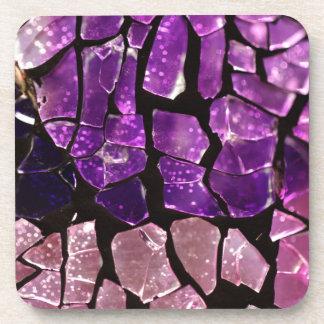 Purple glass fragments coaster