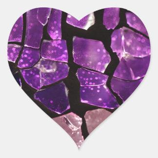 Purple glass fragments heart sticker