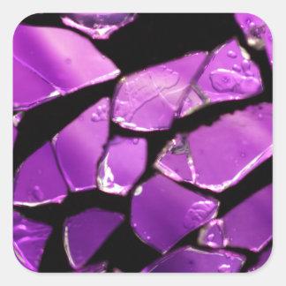 Purple glass fragments square sticker