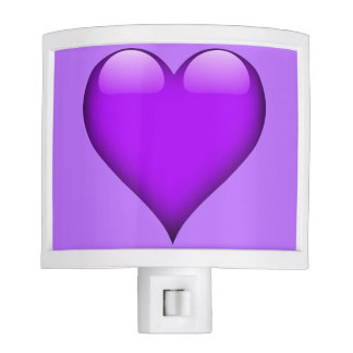 Purple Glass Heart Customizable Night Light