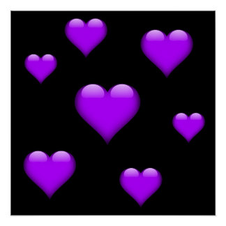 Purple Glass Heart Tiled Customizable Poster