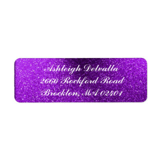 Purple Glitter Address Labels