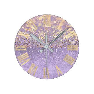 Purple Glitter Amethyst Lavender Confetti Gold Round Clock