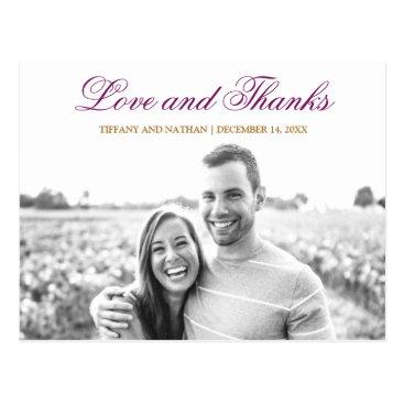 Wedding Themed Purple Glitter Amethyst Photo Thank You Postcard