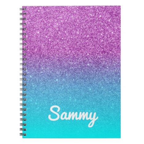 Purple Glitter and Aqua Ombre Personalized Notebook