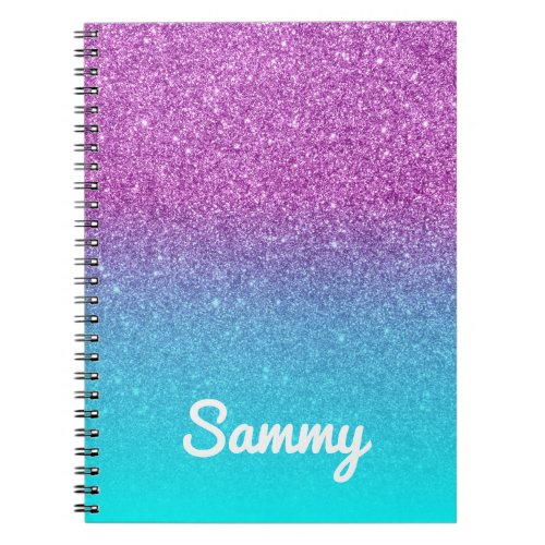 Purple Glitter and Aqua Ombre Personalized Notebook