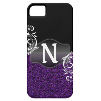 Purple Glitter and Black design with Monogram iPhone SE/5/5s Case