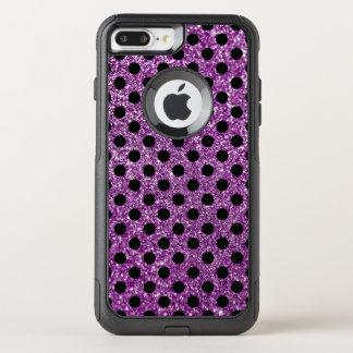 Purple Glitter and Black Polka Dot OtterBox Commuter iPhone 7 Plus Case