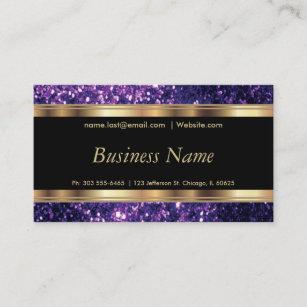 Purple Glitter And Elegant Gold Business Card