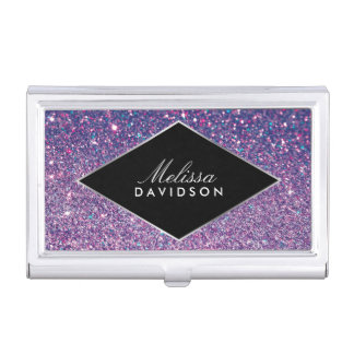 Purple Glitter and Glamour Beauty Business Card Case