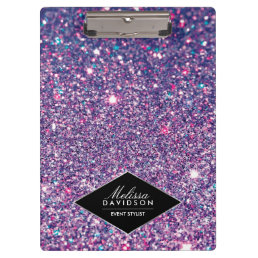 Purple Glitter and Glamour Beauty Personalized Clipboard