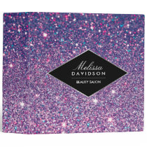 Purple Glitter and Glamour Personalized Binder