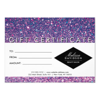 Purple Glitter and Glamour Salon Gift Certificate Card