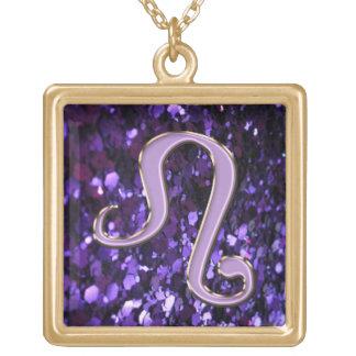 Purple Glitter and Gold Leo Zodiac Sign Necklace