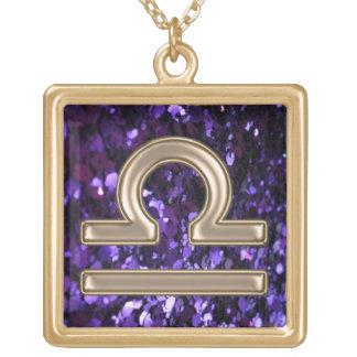 Purple Glitter and Gold Libra Zodiac Sign Necklace