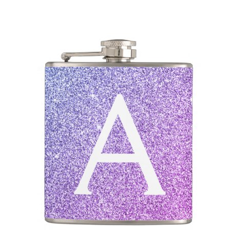 Purple Glitter and Sparkle Monogram Initial Flask