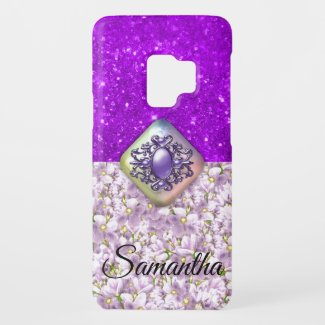 Purple Glitter and Violets Personalized Case-Mate Samsung Galaxy S9 Case