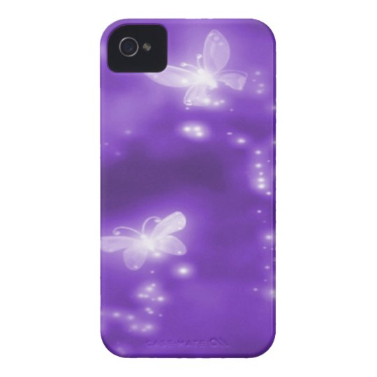 Purple , Glitter and  White Butterflies iPhone 4 Case