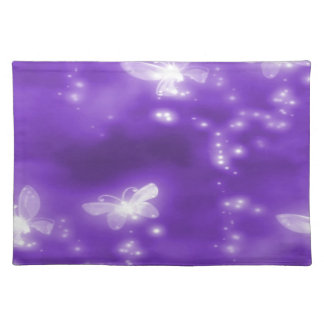 Purple , Glitter and  White Butterflies Cloth Place Mat