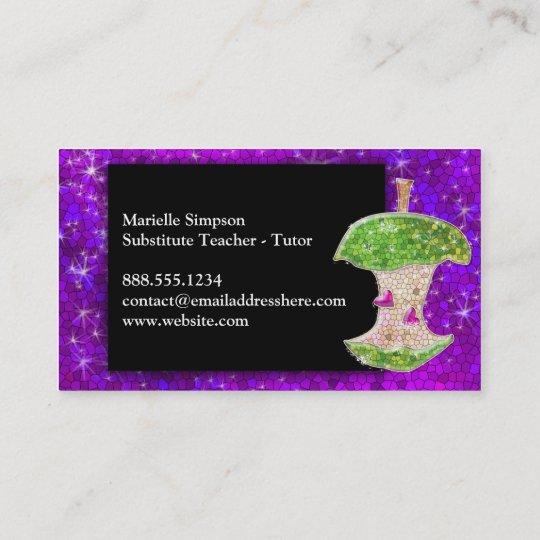 Purple Glitter Apple Substitute Teacher Tutor MUA Business Card