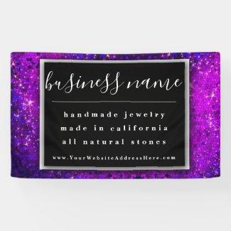 Purple Glitter Artisan Black and White Chalkboard Banner