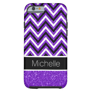 Purple Glitter B&W Chevron Tough iPhone 6 Case