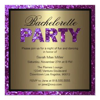 Purple Glitter Bachelorette Party Invitation