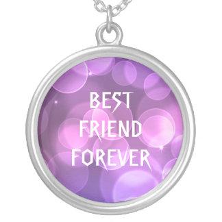 Purple Glitter Best Friends Forever Round Pendant Necklace